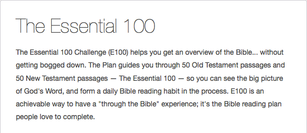 The Essential 100 Reading Plan