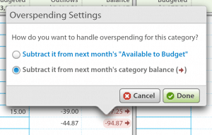 YNAB - Overspending Settings